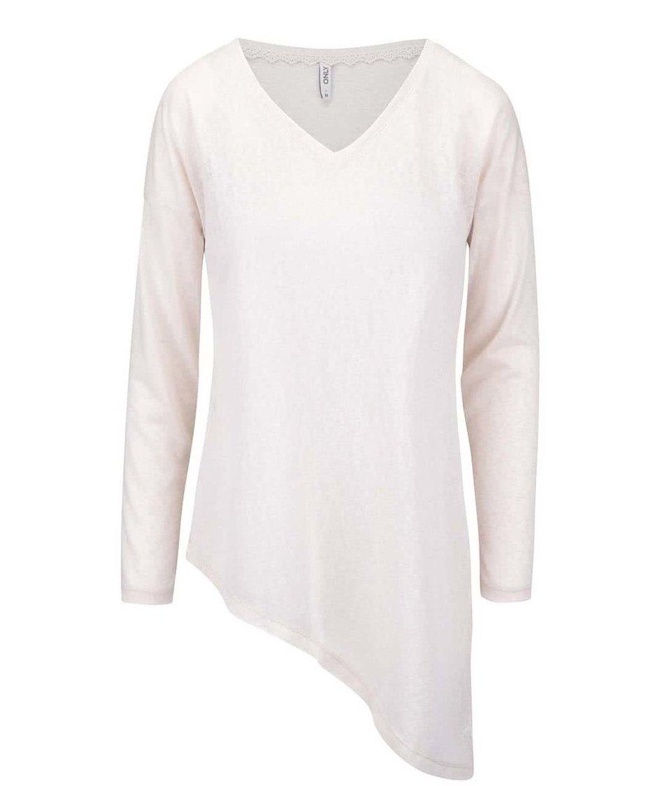 Krémové asymetrické tričko s dlouhým rukávem ONLY Hanna