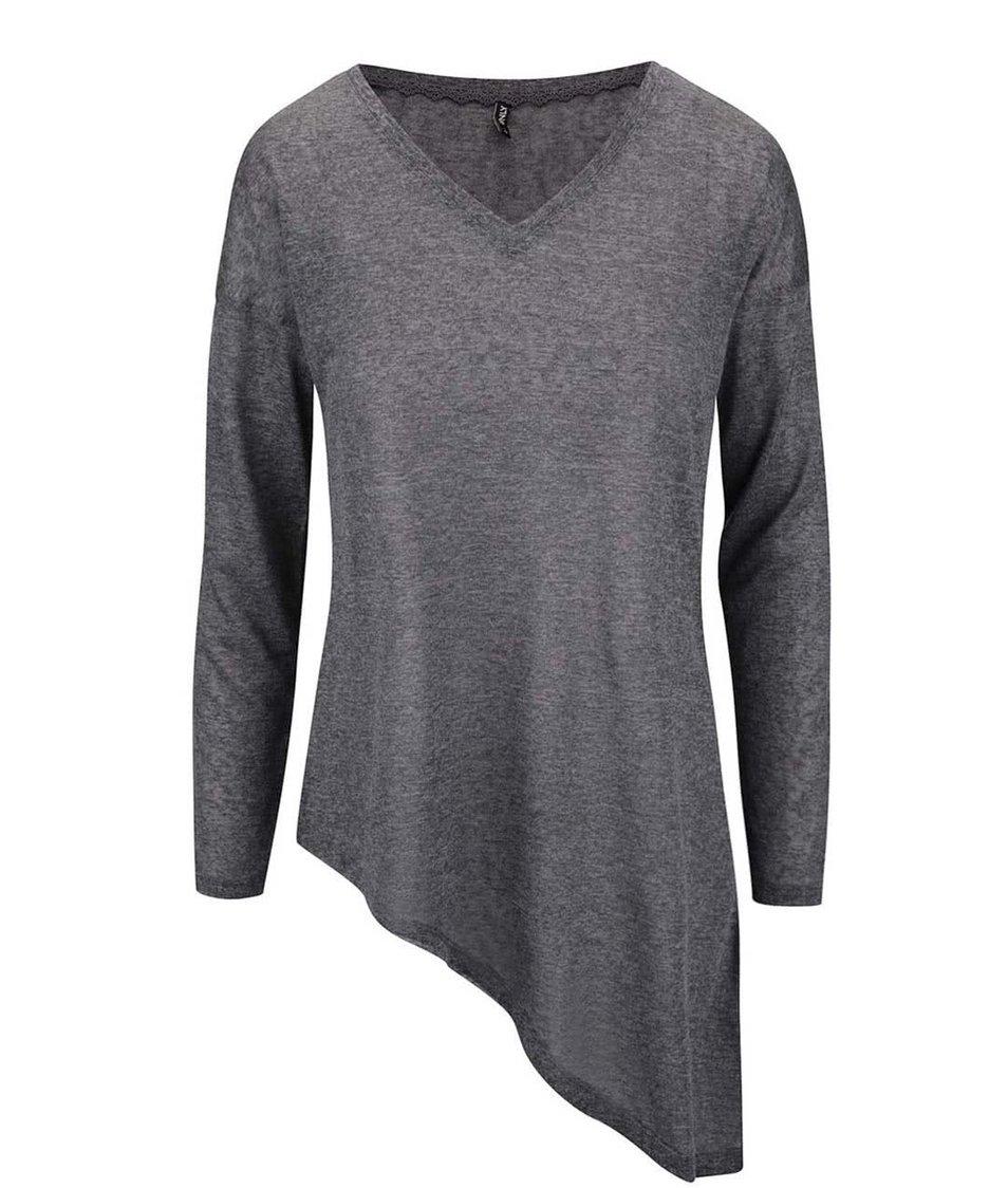 Tmavě šedé asymetrické tričko s dlouhým rukávem ONLY Hanna