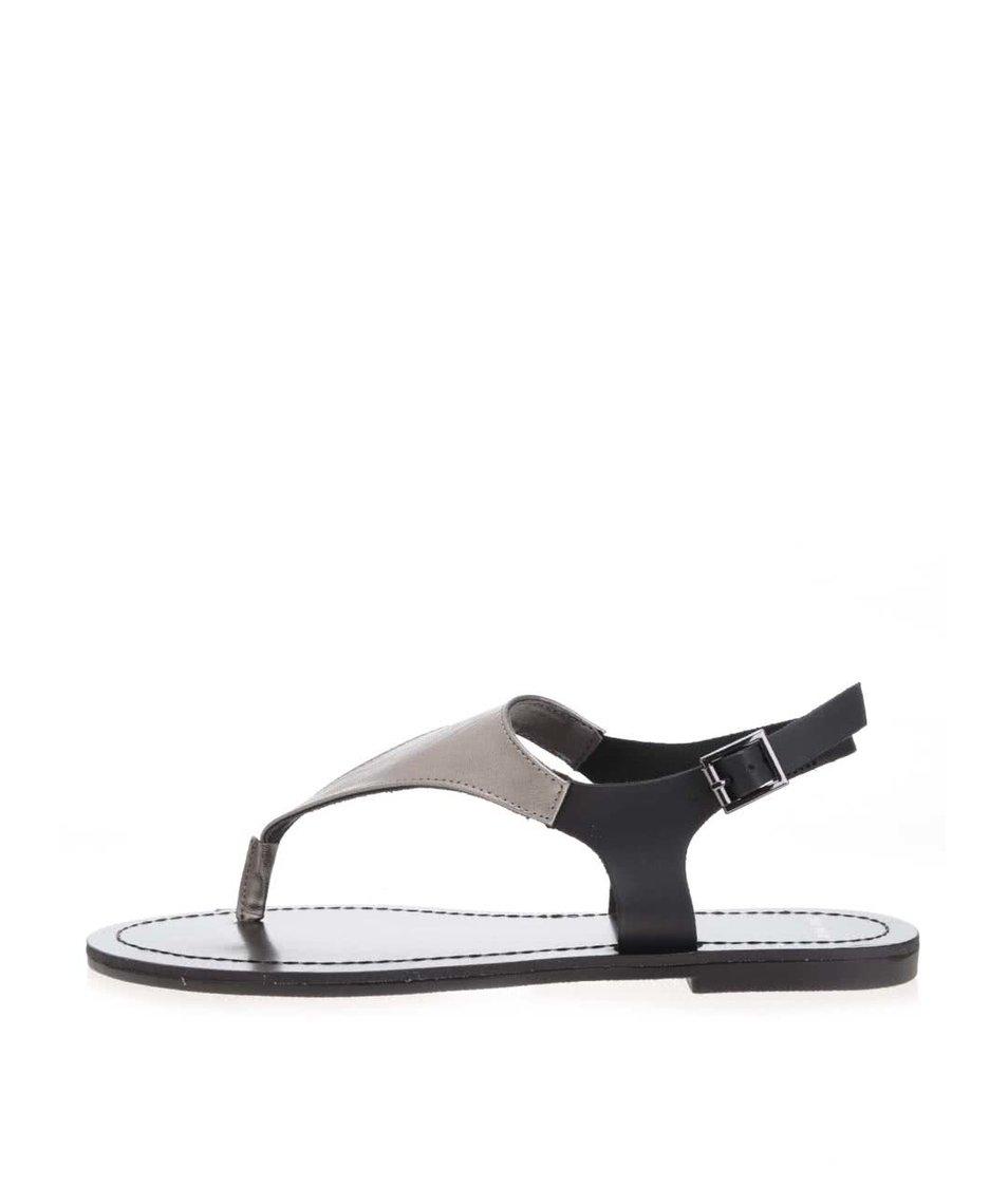 Černé metalické páskové sandály TALLY WEiJL
