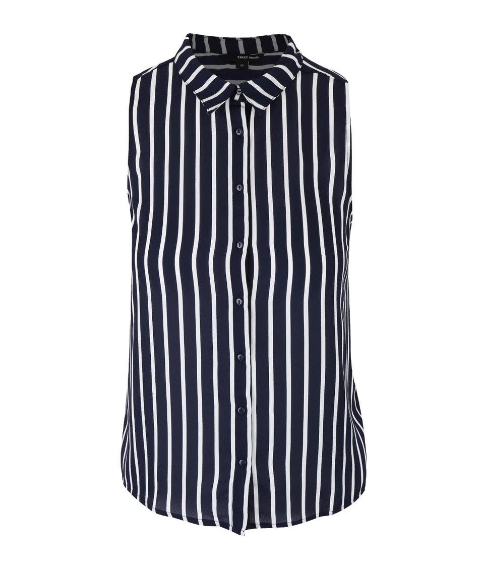 Bílo-modrá pruhovaná košile bez rukávů TALLY WEiJL