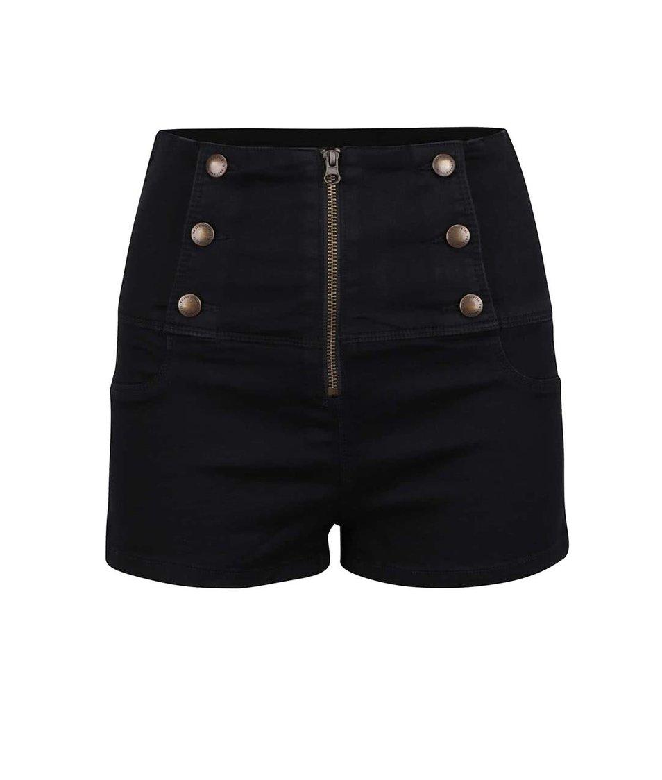 Černé džínové kraťasy s ozdobným zipem a knoflíky TALLY WEiJL
