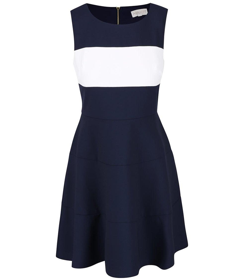 Tmavě modré šaty s bílým pruhem přes prsa Apricot