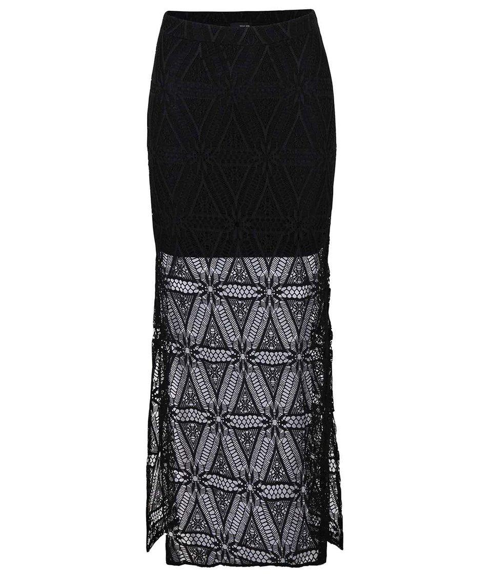 Černá krajkovaná maxi sukně TALLY WEiJL