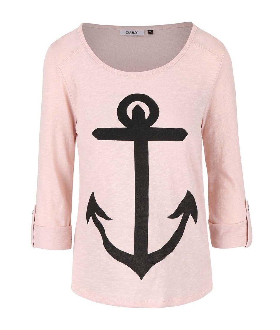 Světle růžové tričko s kotvou ONLY Jess