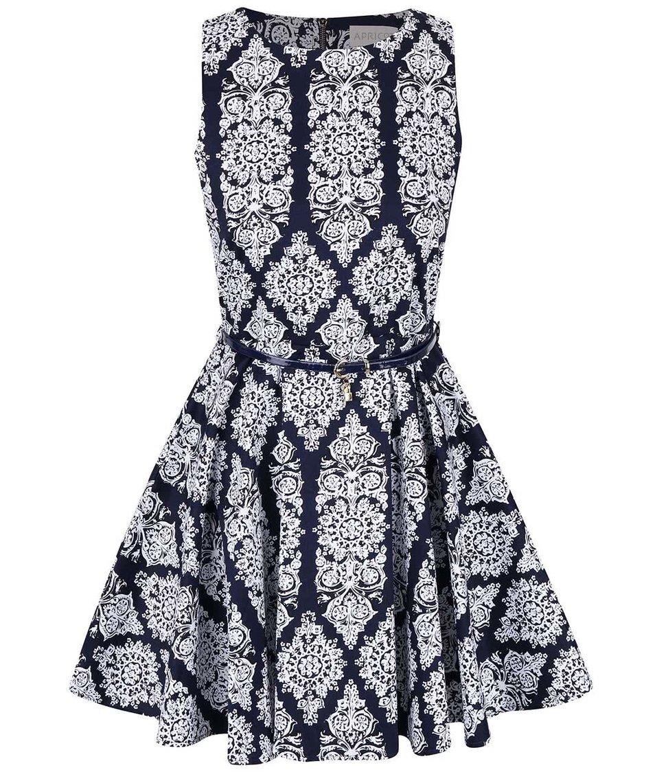 Tmavě modré šaty s bílým vzorem Apricot