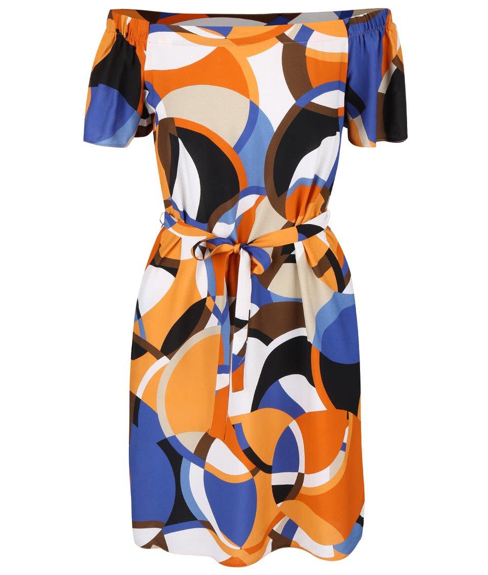 Krémovo-oranžové vzorované šaty s odhalenými rameny Dorothy Perkins