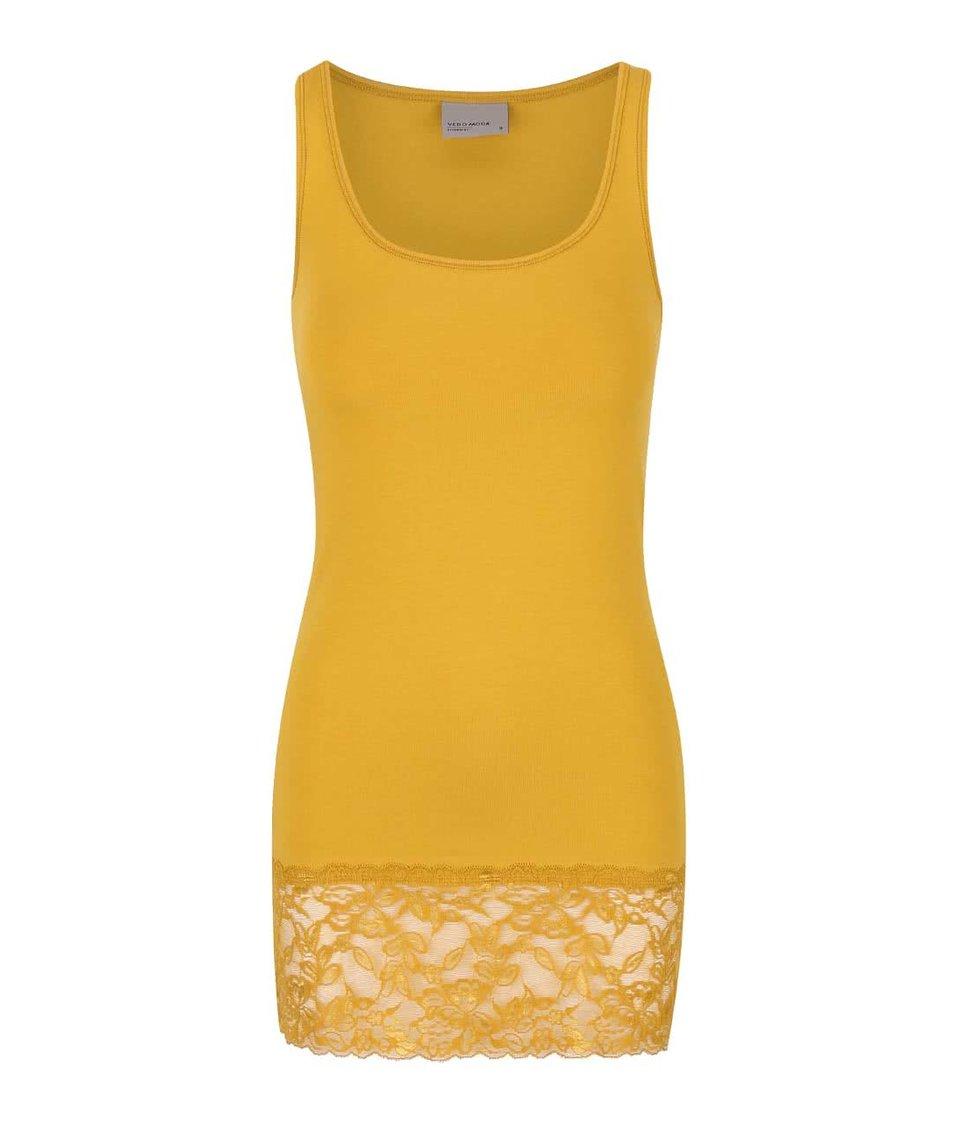 Hořčicové tílko s krajkovaným lemem Vero Moda Maxi