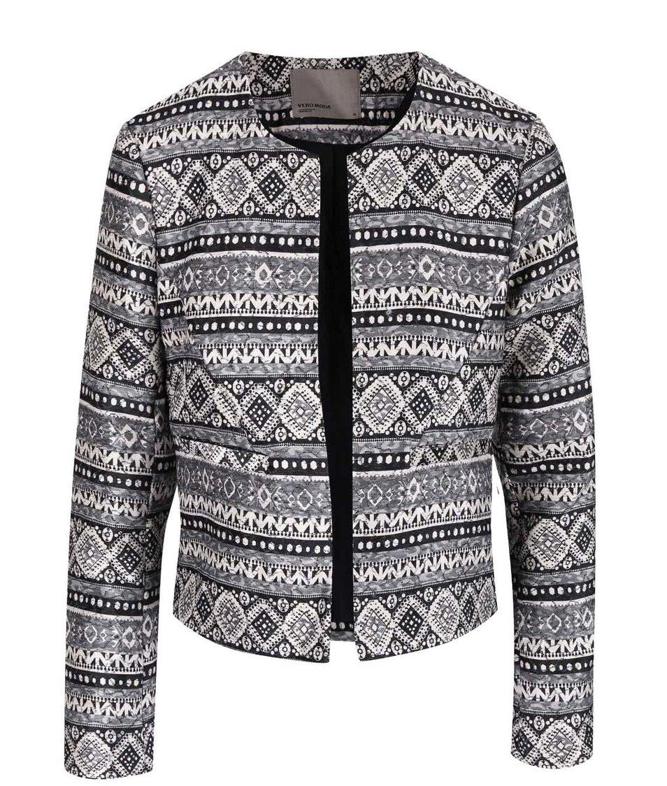 Krémovo-šedý vzorovaný blejzr Vero Moda Cara