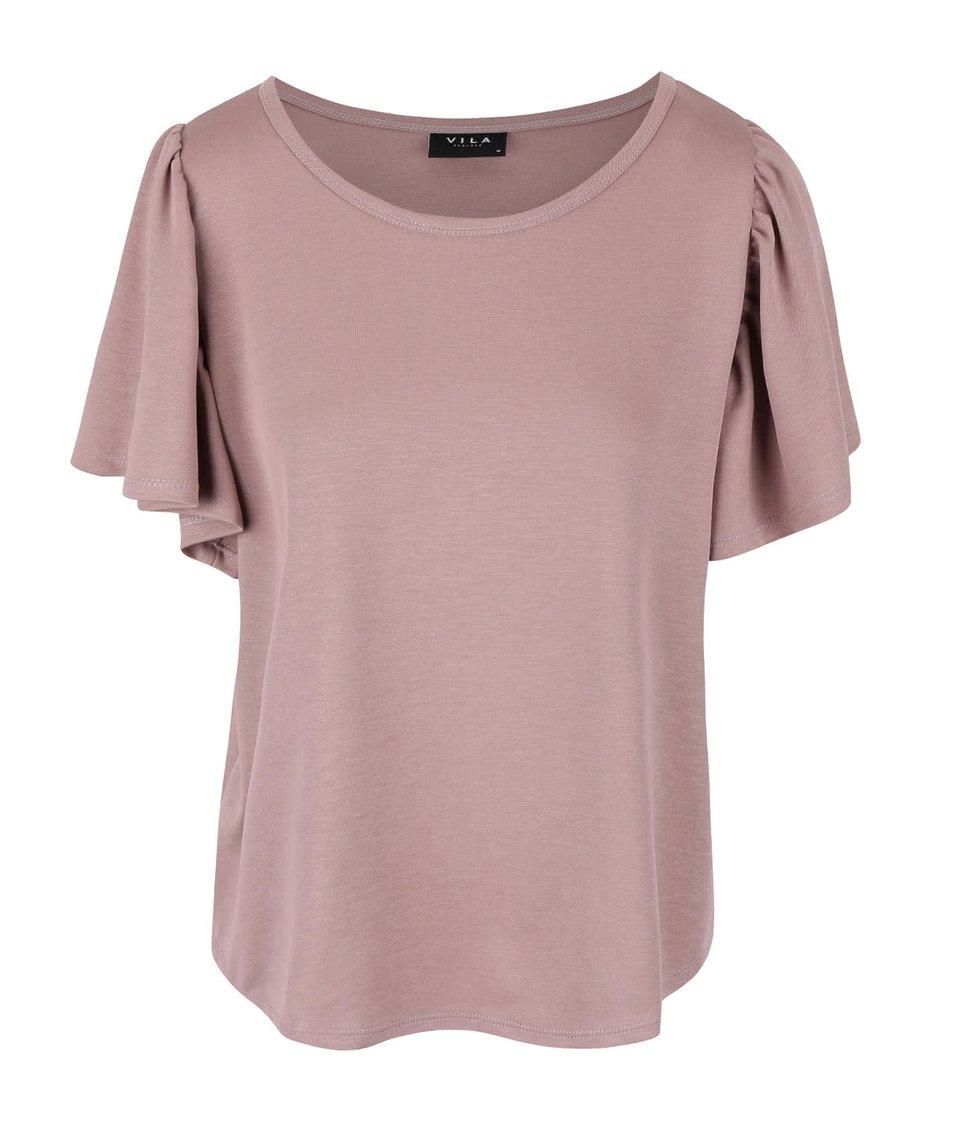 Světle vínové tričko s volnými rukávy VILA Ramina