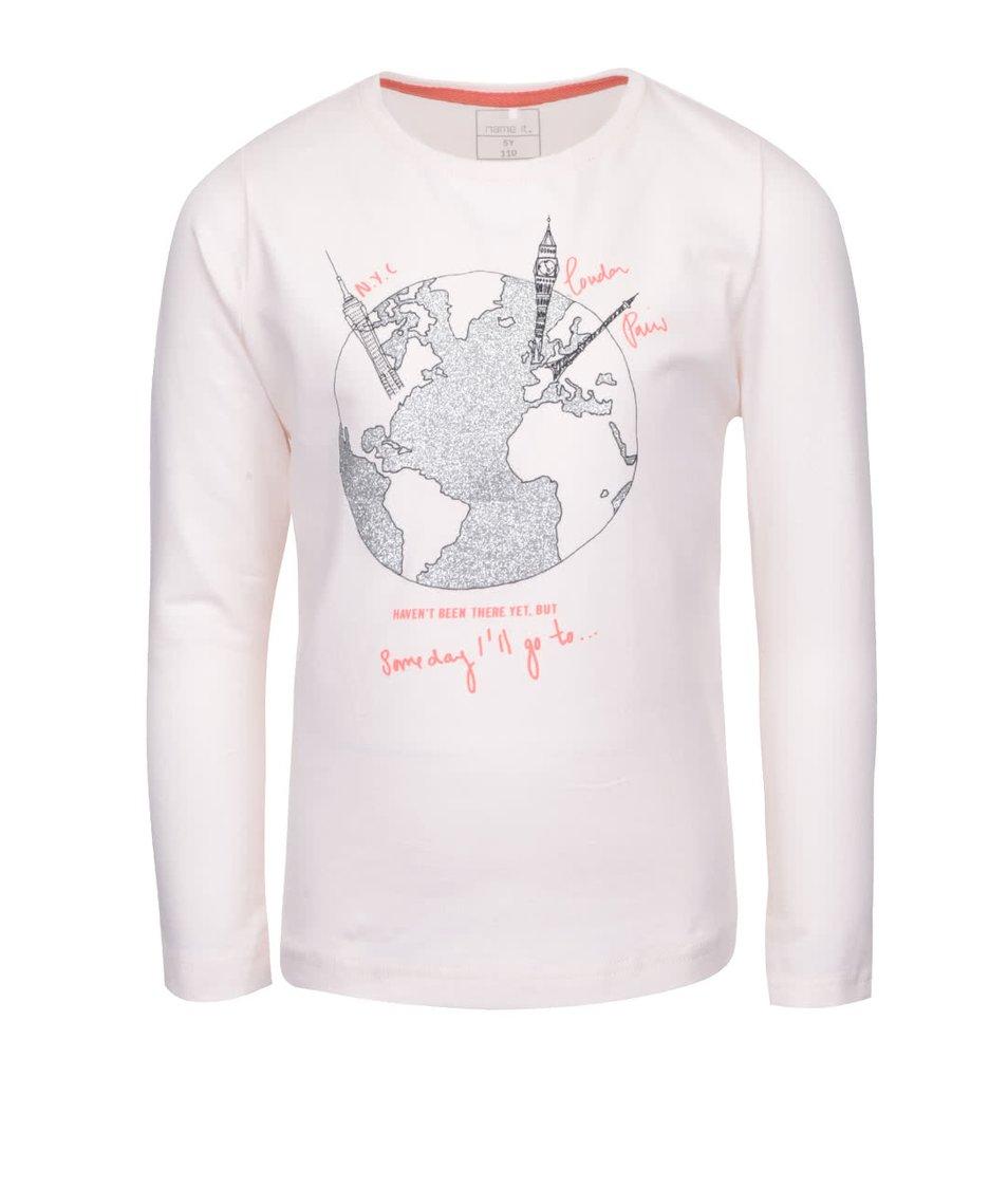Světle růžové holčičí tričko s dlouhým rukávem name it Kavi