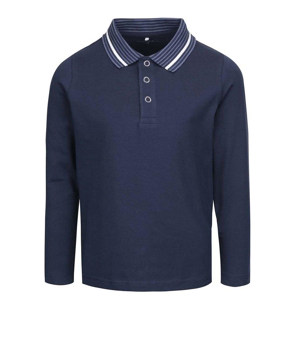 Tmavě modré klučičí polo triko s dlouhým rukávem name it Vartin
