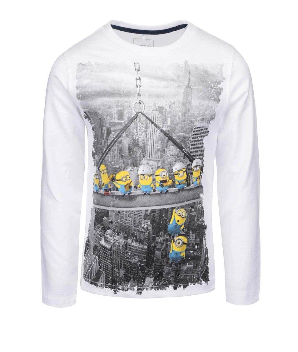Bílé klučičí tričko s dlouhým rukávem a potiskem name it Minions
