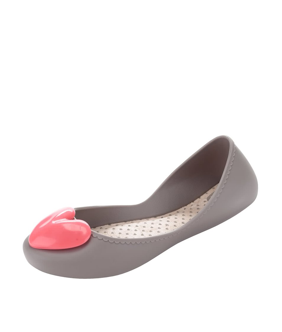 Šedé plastové balerínky s růžovým srdcem Zaxy Start Romance