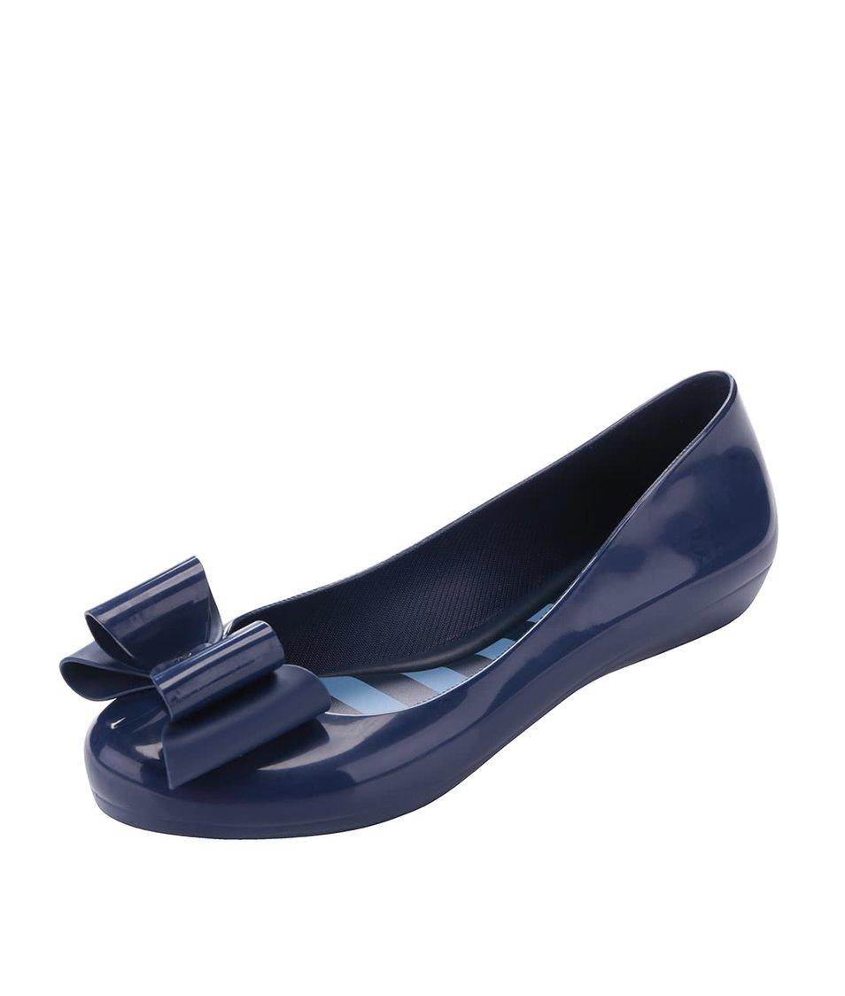 Modré plastové balerínky s modrou mašlí Zaxy Pop Bow