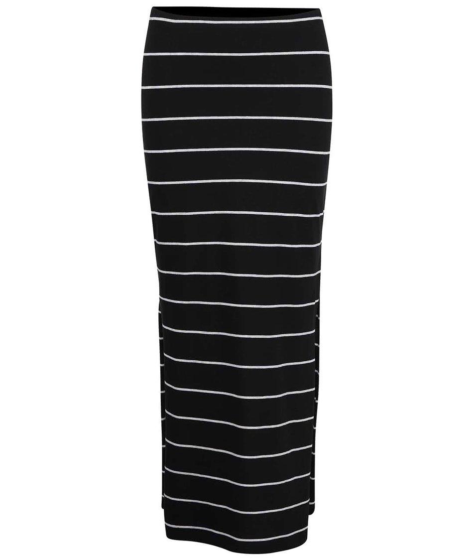 Černá dlouhá pruhovaná sukně s rozparky ONLY Abbie