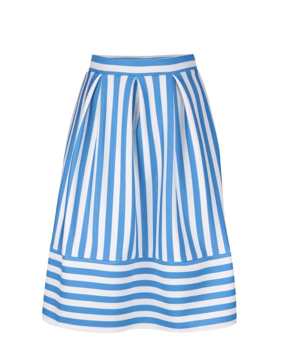 Krémovo-modrá midi sukně s pruhy Miss Selfridge Petites