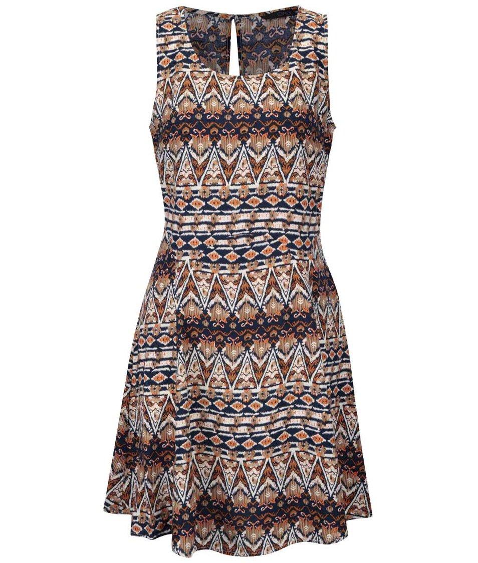 Modro-hnědé vzorované šaty ONLY Nova