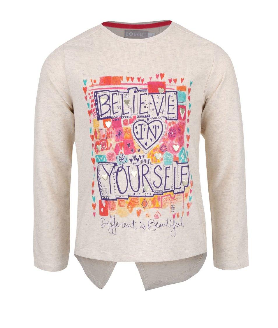 Krémové holčičí tričko s rozparkem na zadní straně Bóboli