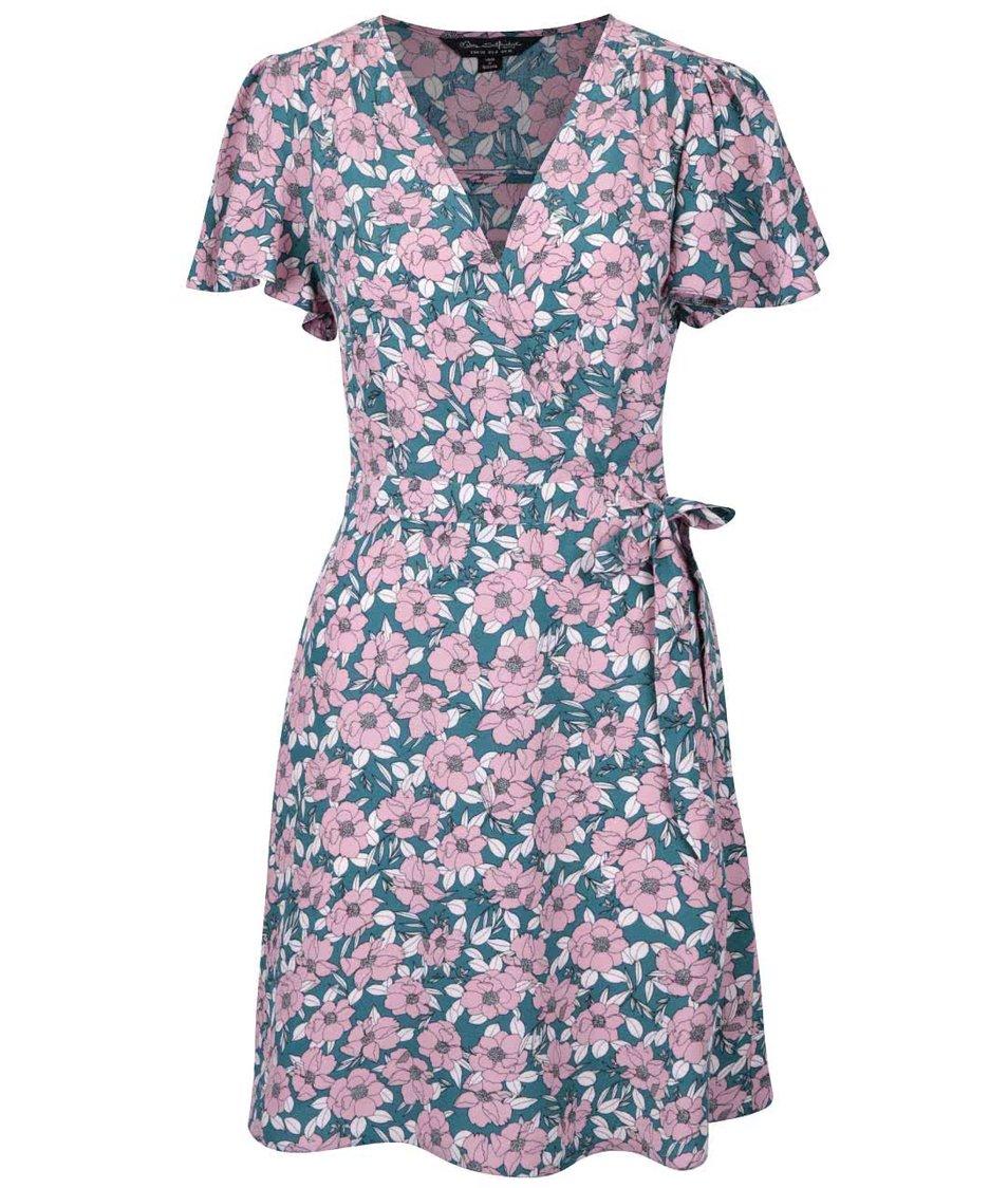 Růžovo-zelené šaty s květinovým potiskem Miss Selfridge