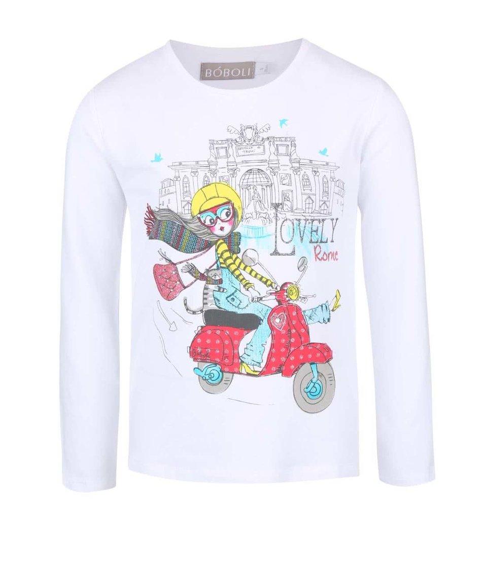 Bílé holčičí tričko s dívkou v Římě Bóboli