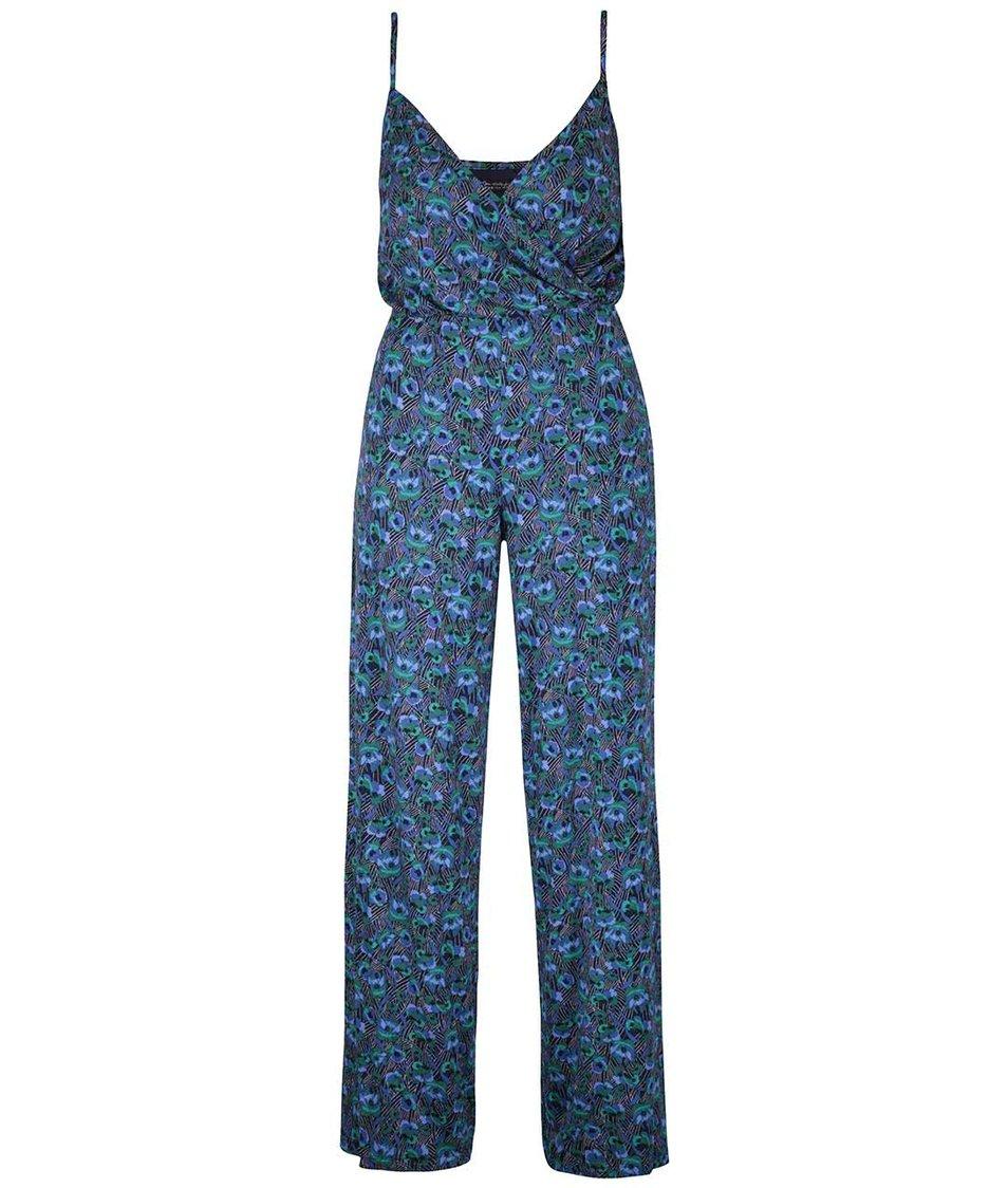 Modrý květinový overal Miss Selfridge