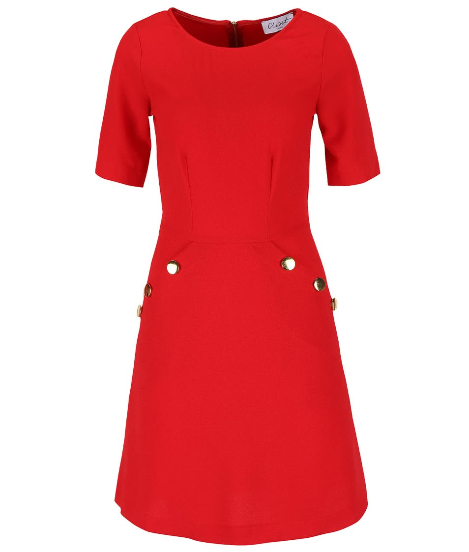 Červené šaty s knoflíky ve zlaté barvě na kapsách Closet
