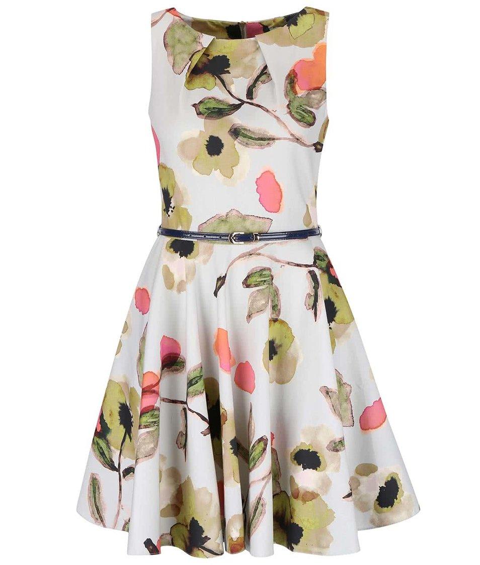 Světle šedé květované šaty s páskem Closet