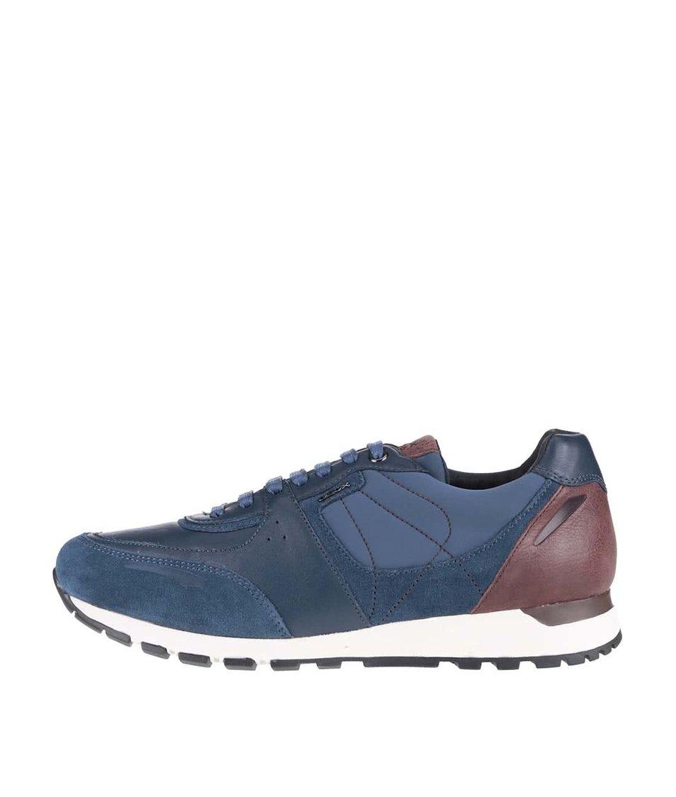 Modré pánské kožené tenisky se semišovými detaily Geox Emildon
