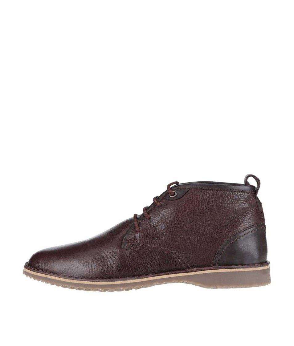 Hnědé pánské kožené kotníkové boty Geox Zal