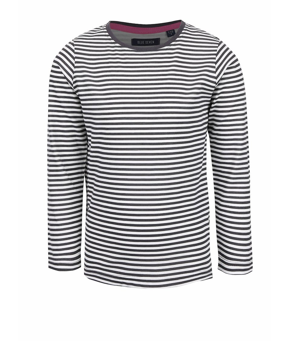 Krémovo-šedé holčičí tričko s pruhy Blue Seven