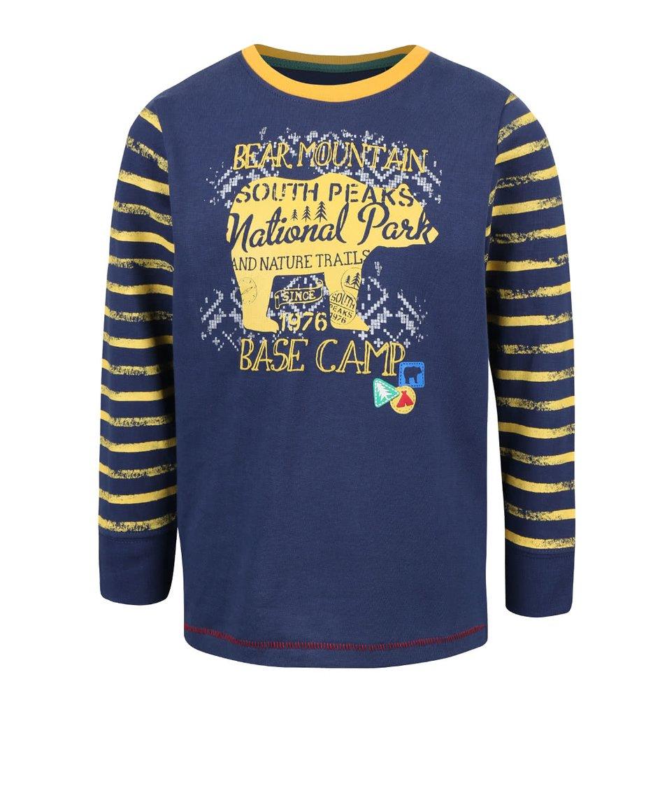 Žluto-modré klučičí tričko s pruhovanými rukávy Blue Seven