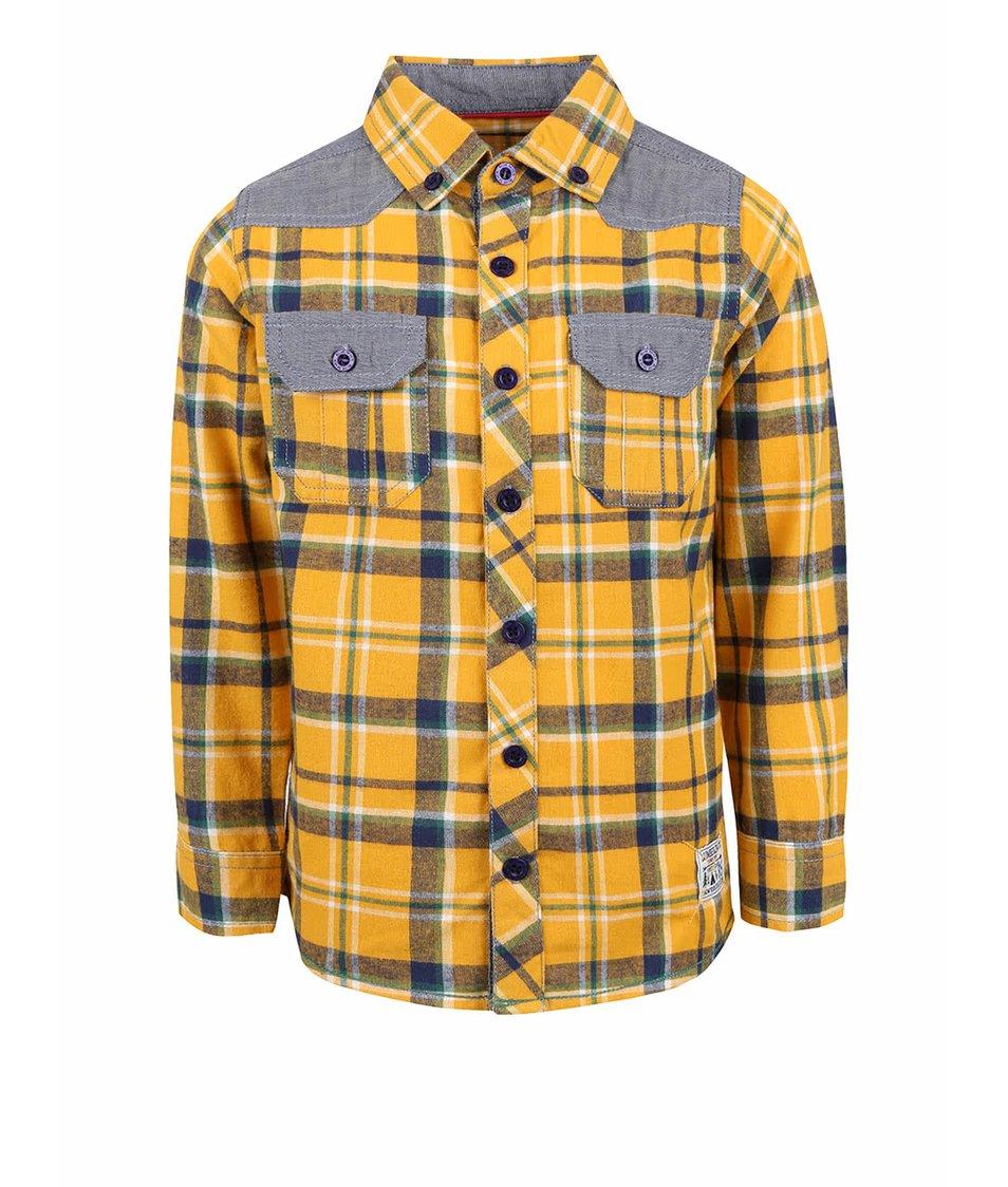 Šedo-žlutá klučičí károvaná košile Blue Seven