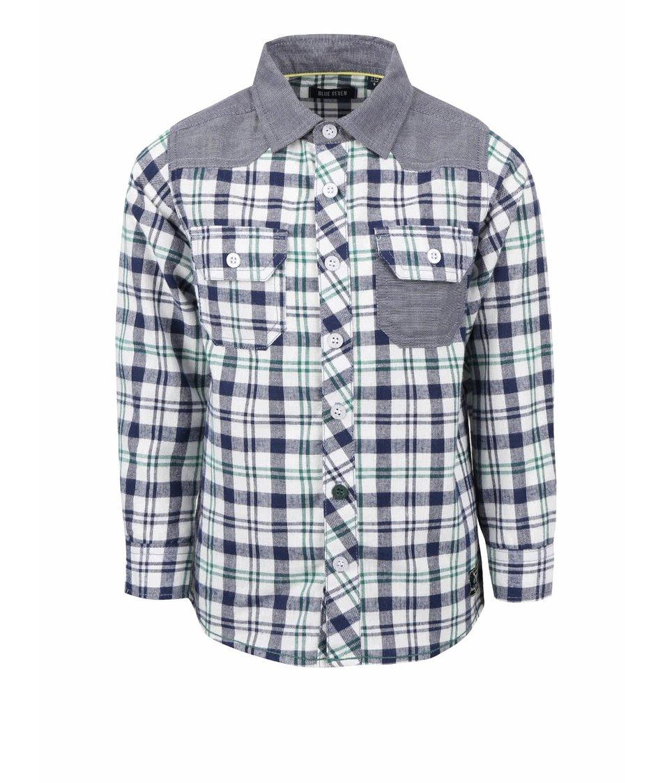 Šedo-krémová klučičí károvaná košile Blue Seven