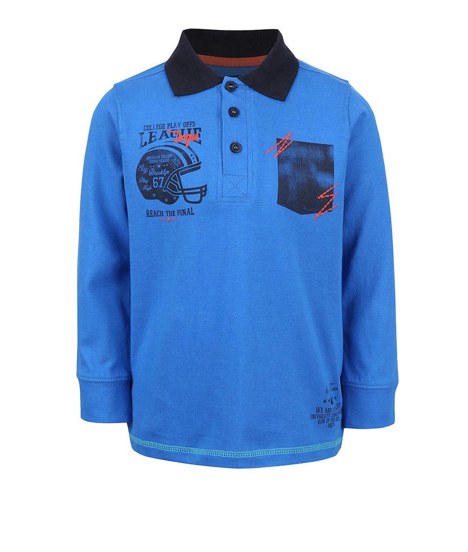 Modré klučičí polo tričko s dlouhým rukávem Blue Seven