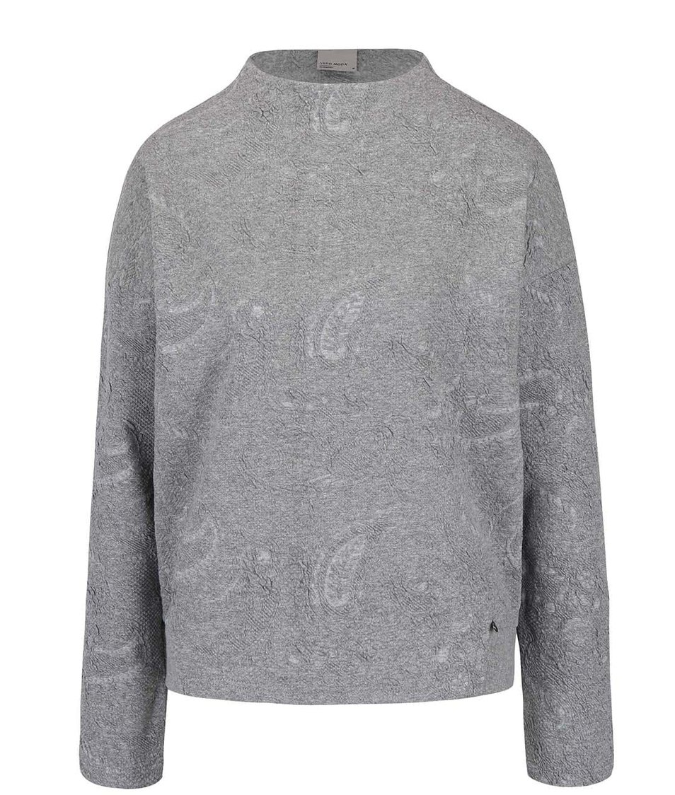 Světle šedá žíhaná mikina se vzorem Vero Moda Marianne