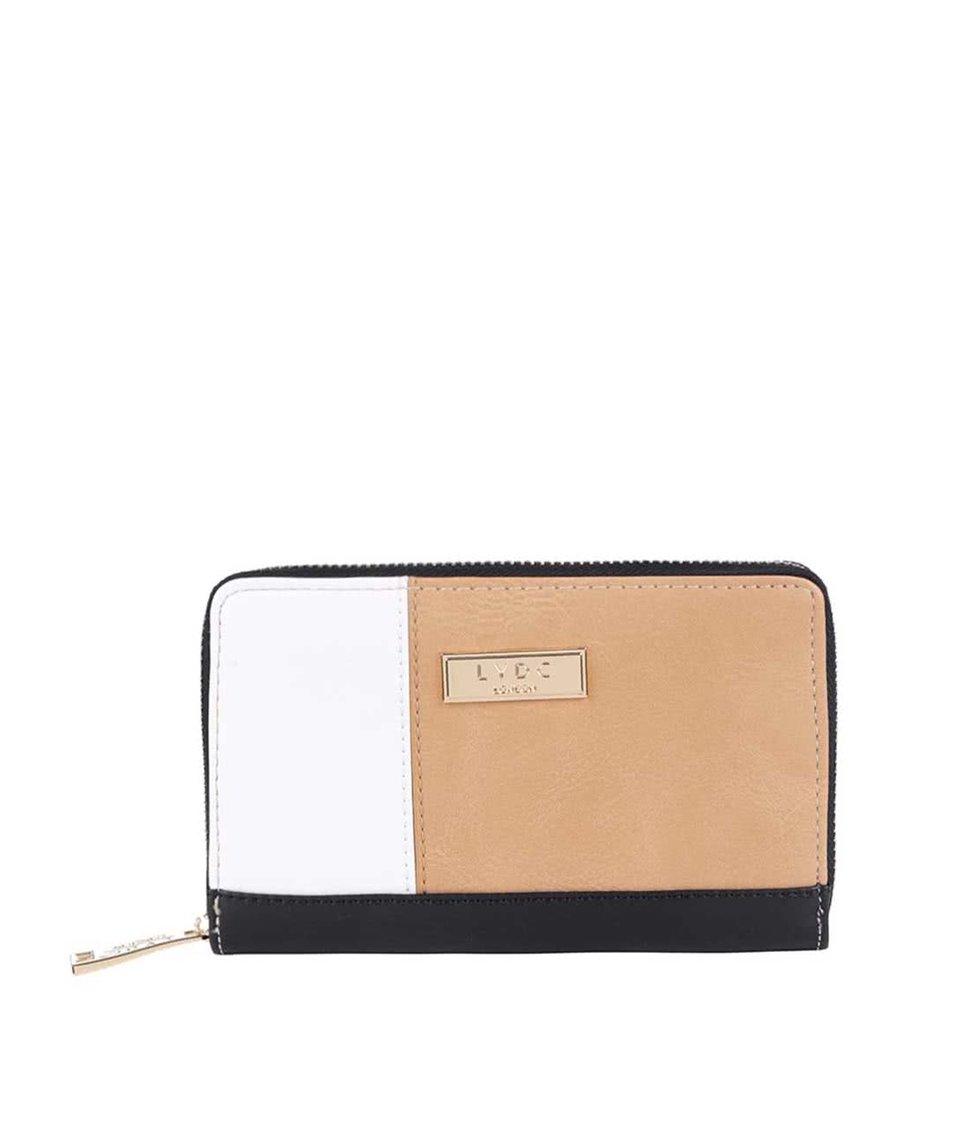 Černo-bílo-hnědá peněženka na zip LYDC