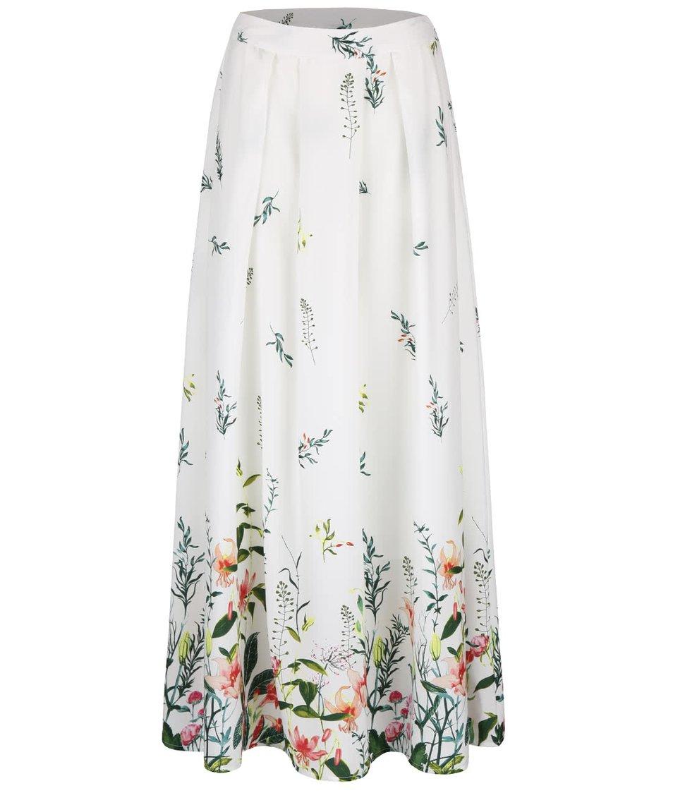 Krémová dlouhá sukně s květinovým potiskem Vero Moda Oni