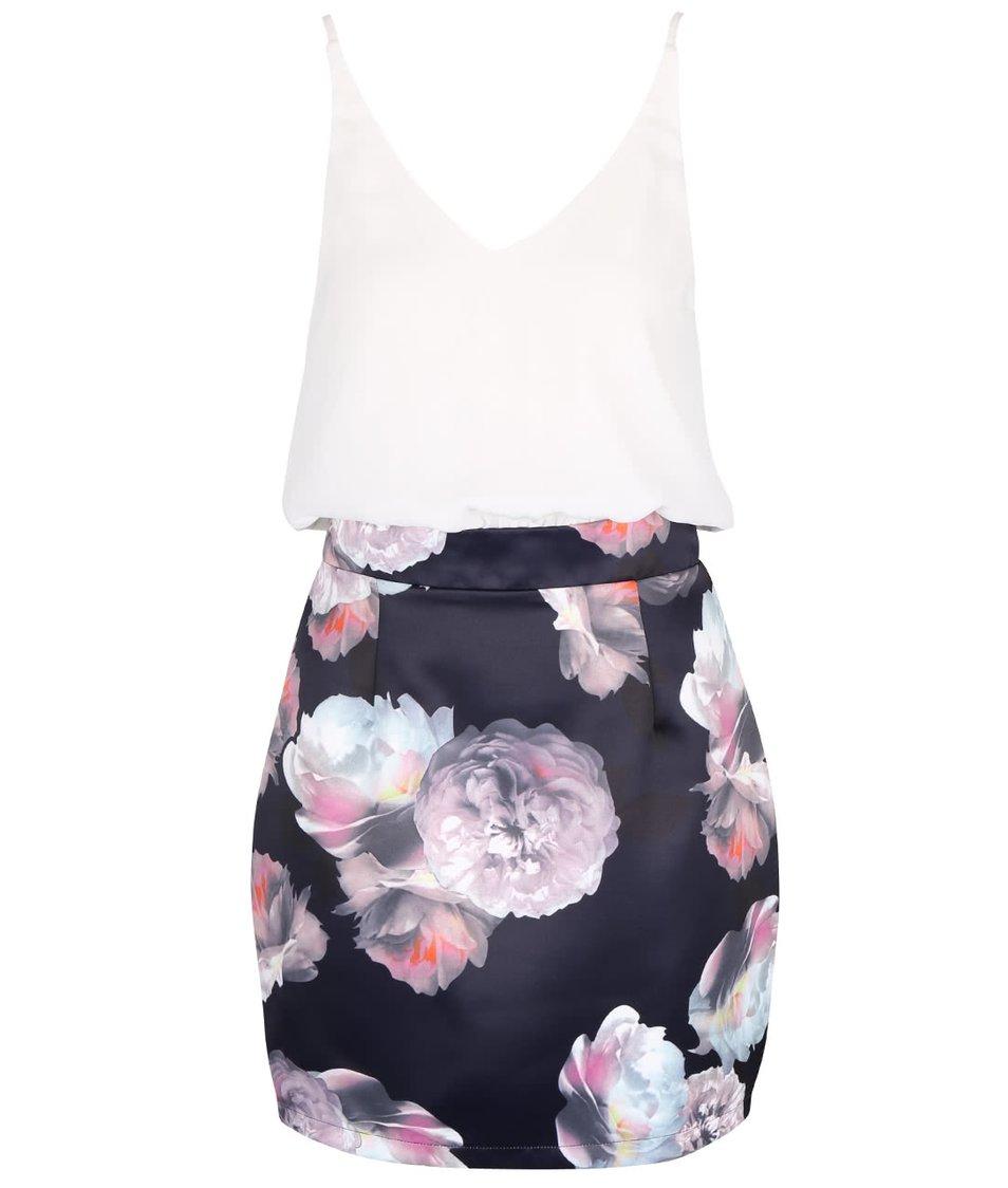 Krémovo-modré šaty s fialovými květy AX Paris