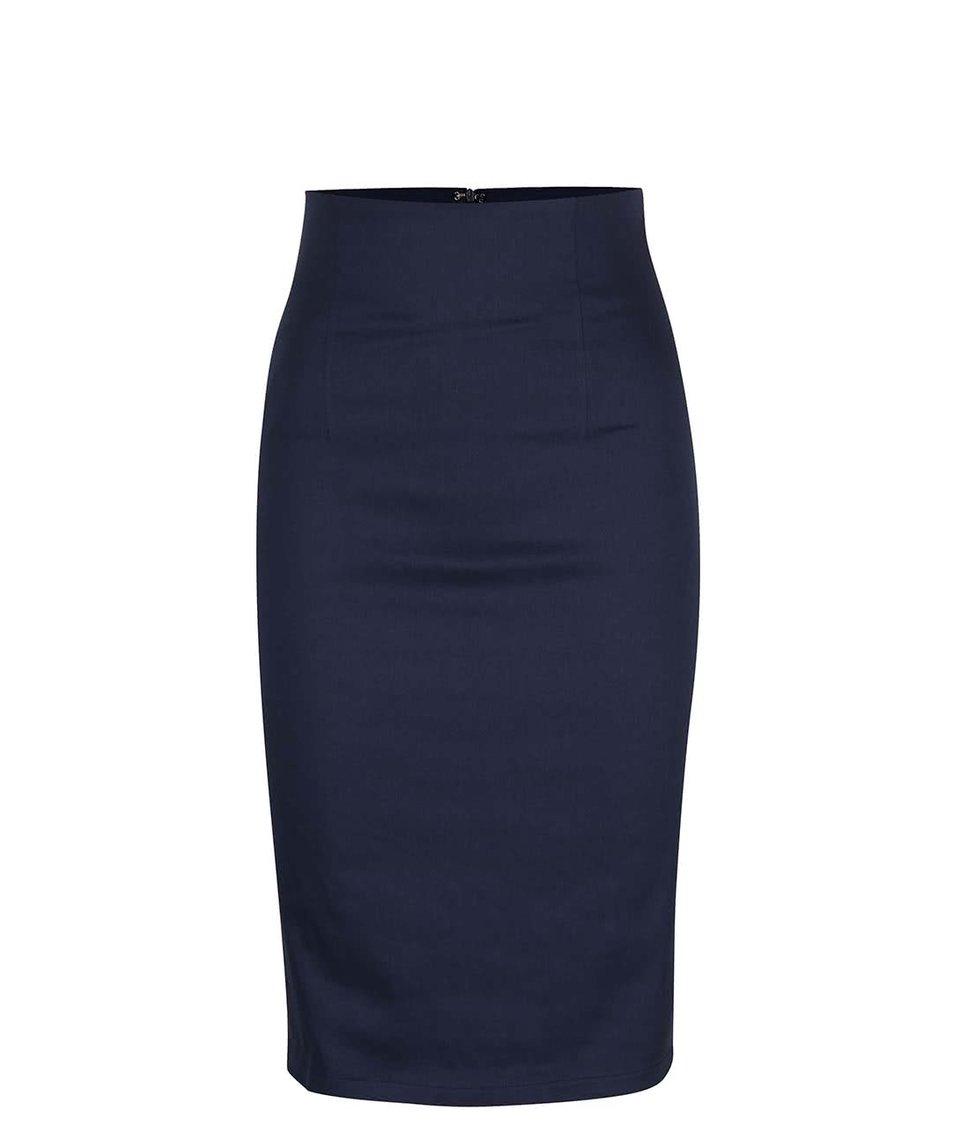 Tmavě modrá sukně s vyšším pasem Dolly & Dotty Falda