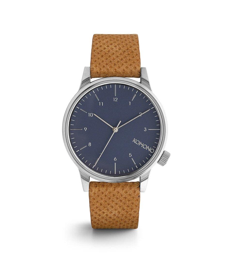 Modré unisex hodinky s hnědým koženým páskem Komono Winston