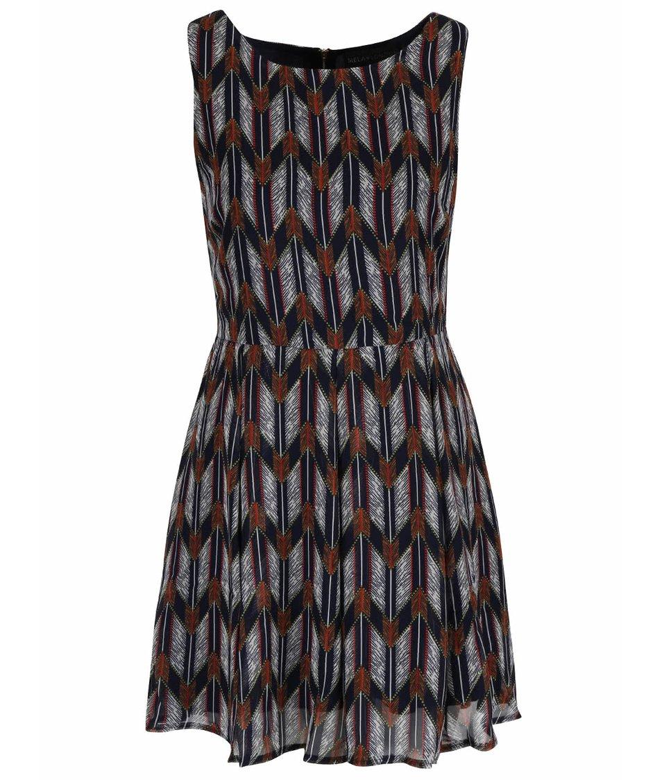 Tmavě modré vzorované šaty s překládanou sukní Mela London
