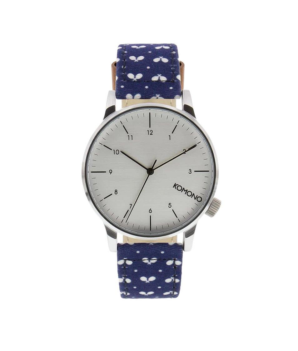 Modré pánské hodinky se vzorem Komono Winston Print