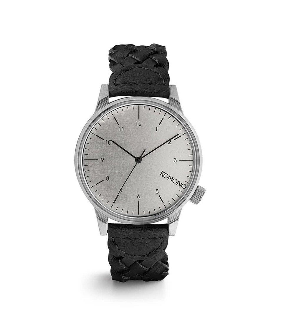 Černé pánské hodinky s proplétaným koženým páskem Komono Winston Brogue