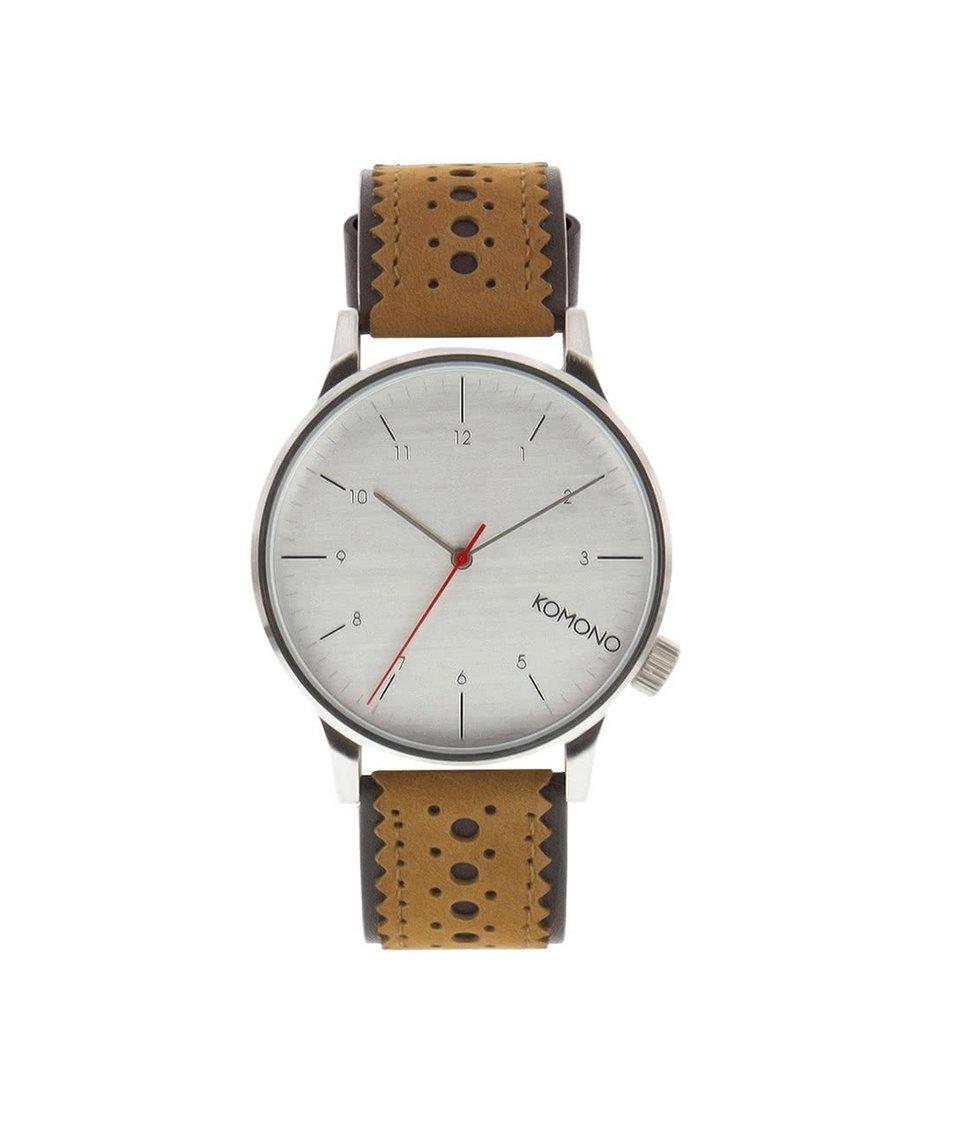 Světle hnědé pánské kožené hodinky Komono Winston Brogue