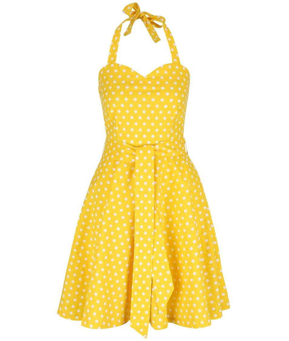Žluté puntíkované šaty na zavazování za krk Dolly & Dotty Penny
