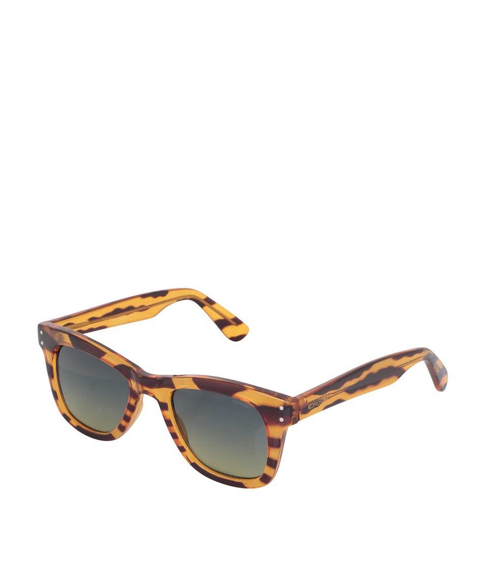 Hnědé dámské žíhané sluneční brýle Komono Urkel