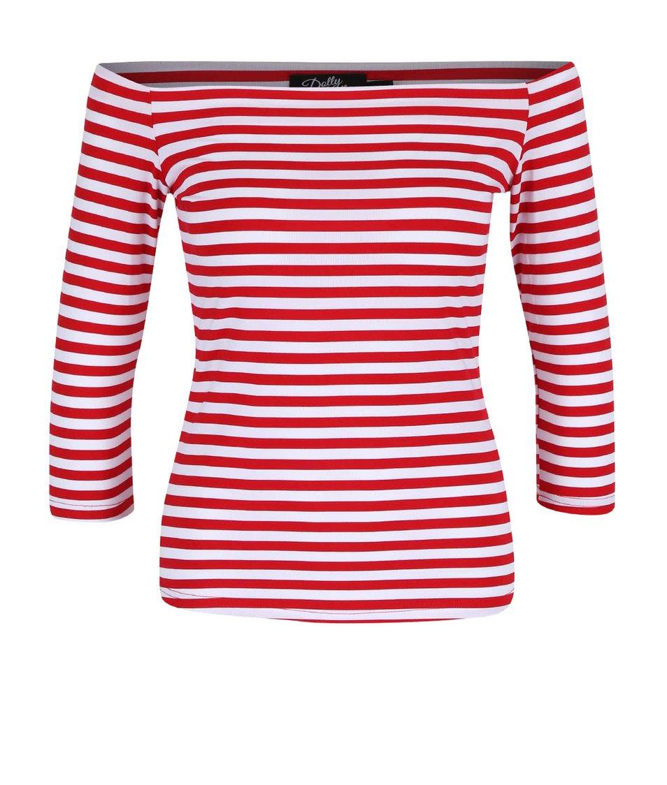 Červené pruhované tričko s odhalenými rameny Dolly & Dotty Gloria