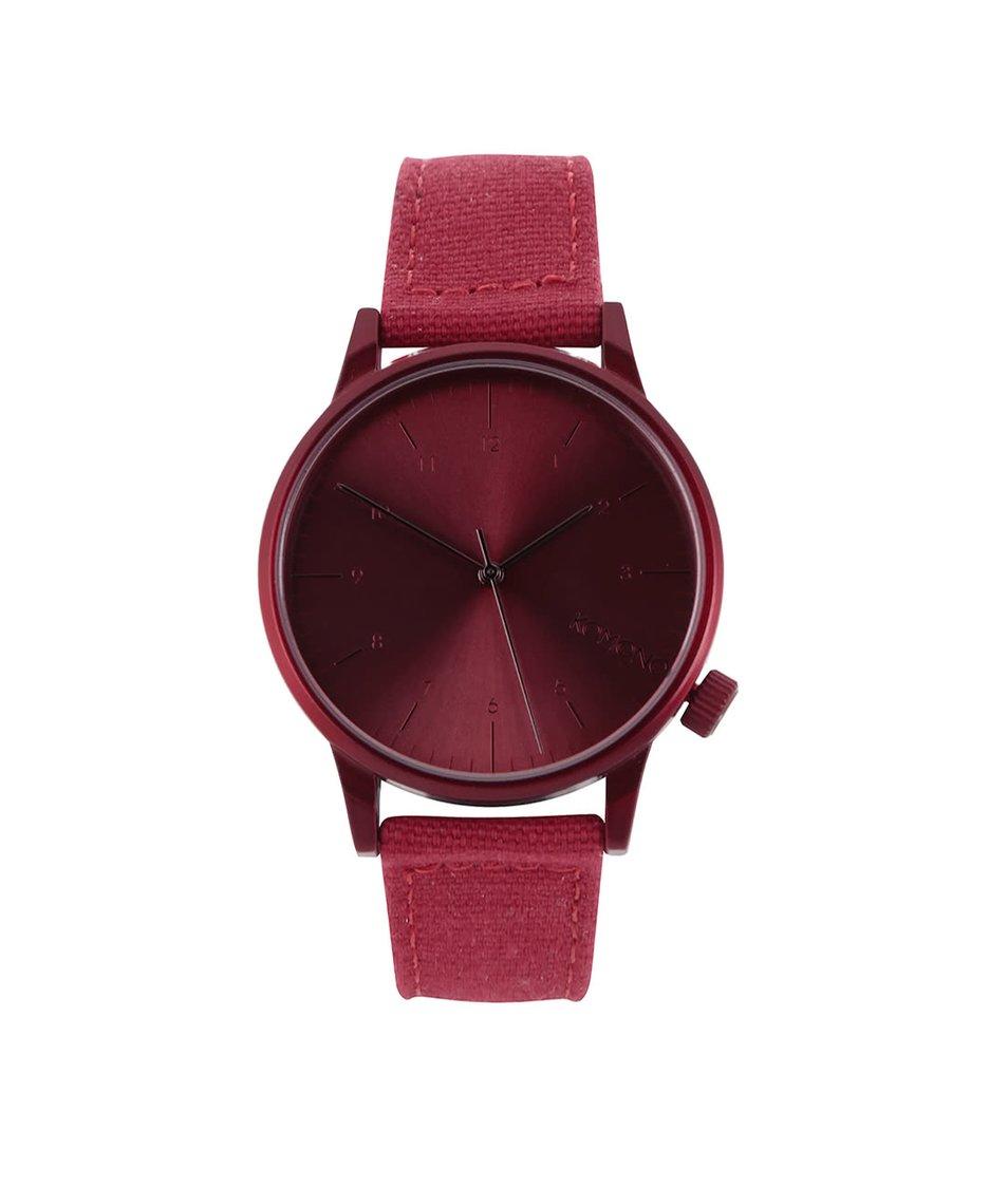Červené pánské hodinky s koženým páskem Komono Winston Brogue