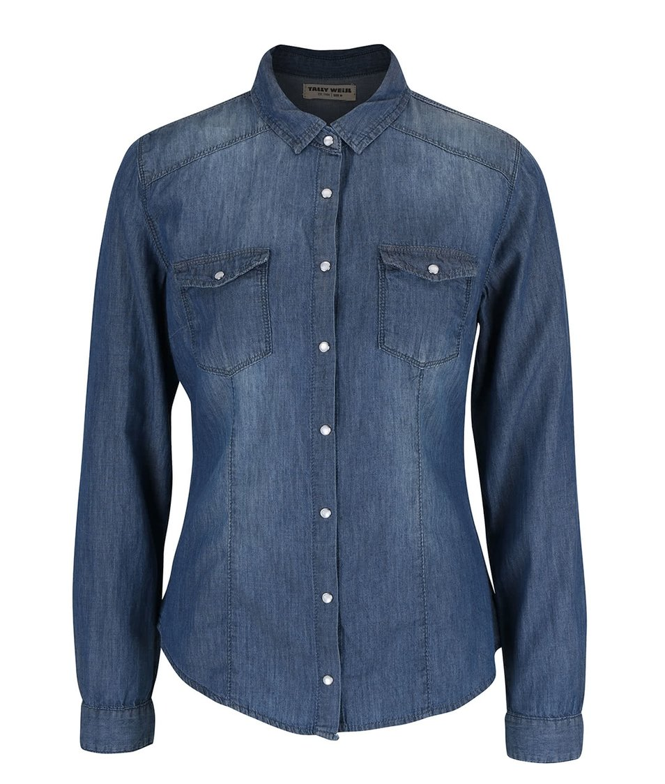 Modrá džínová košile s dlouhým rukávem TALLY WEiJL