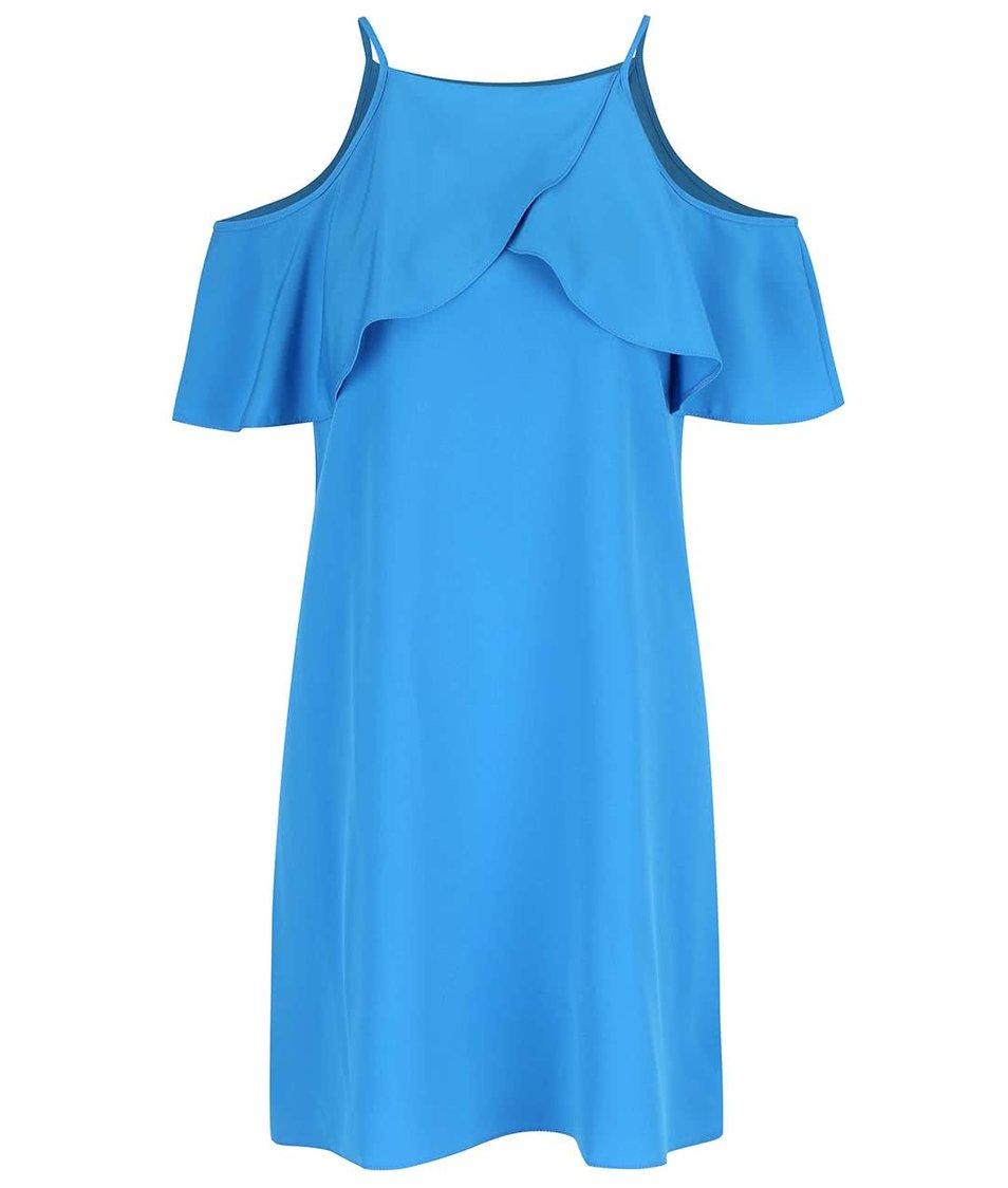 Modré šaty s volánky Miss Selfridge